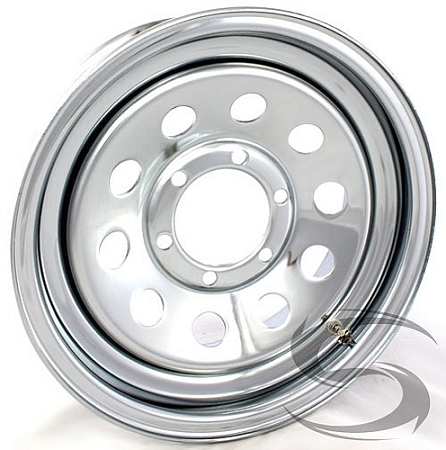 16x6 Chrome Modular Steel Trailer Wheel (No Rivets) 6 Lug, 3760 lb Max ...